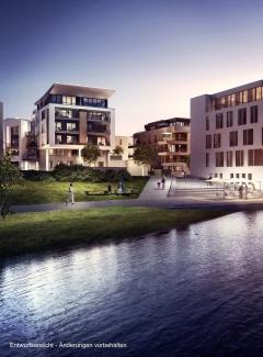Port PHOENIX, Haus 13 bei Nacht | Visualisierung: INTERBODEN Innovative Lebenswelten GmbH & Co. KG